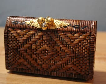 vintage small woven lined coin purse