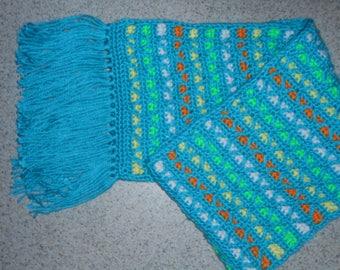 Handmade Crochet Fringed Aqua Winter Scarf