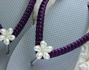 Bridesmaid gift FLIP FLOPS beach wedding Eggplant bridal sandals, satin wrapped flip flops, pearl flower embellished flat wedding shoes