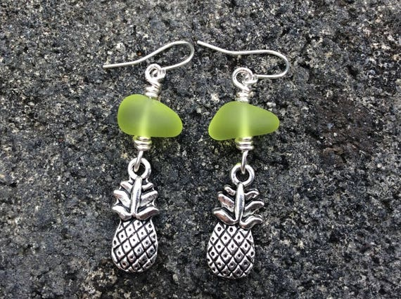Recycled Lime Green Seaglass, Silver Plated Pinapple Charm Earrings