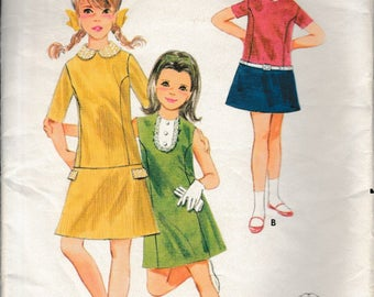 1960's Sewing Pattern Butterick 4071 One piece dress size 14 bust 32
