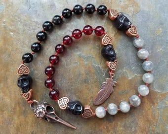 The Morrigan Prayer Beads, Meditation Beads, Witches Ladder, Pagan Rosary, Pagan Mala Beads, Raven Mala, Pagan Prayer Beads