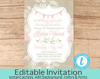 Twin Baby Shower Invitation, Burlap and Lace, Pink Burlap Lace Magnolia Baby Shower invitation, Twins Pink, Editable Instant Download
