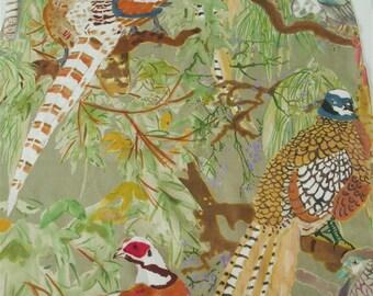 "Lee Jofa-Mulberry Home-Multipurpose Fabric-Game Birds Linen -24.5"" x 36""L-Luxe Print- Birds Fabric-"