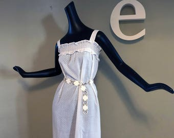 Vintage 70s Hippie Boho Festival Maxi Dress 1970s White Dotted Swiss Beach Pool Swimsuit Cover Up / Nightgown Nightie Night Gown sz Large XL
