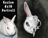 Custom Pet Portrait 8x10 Canvas Art, Skull Painting, Gothic Decor, Dog Art, Cat Owner, Goth Artwork, Original Art, Memorial Gift, Skeletons