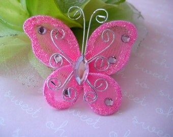 """100 pieces 2"""" Hot Pink Nylon Butterflies for Wedding Decor, Birthday Party, Baby Shower, Table Scatters, Christening, Baptism, Sweet 16"""