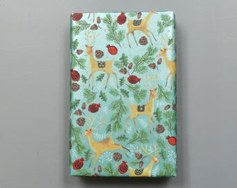 Reindeer and Pine Branches Christmas Wrapping Paper, 2 Feet x 10 Feet - New for 2017