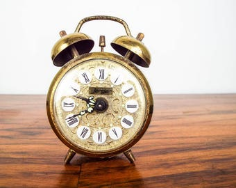 Vintage 1970s Jerger Small Alarm Clock  Bedside Gold Roman Numerals Made in Germany,