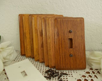 Vintage Wood Switch Plate Cover Light Toggle Wall Switchplate Mid Century Man Cave Country Farmhouse Rustic Lake House Cabin Home Decor