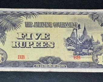 Japan Banknote World War 2    5 Rupees