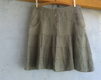 Military skirt, green skirt, cotton skirt, 90s, Woman beach skirt, SIZE M Summer skirt, Beach dress