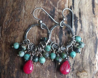 Fine silver circle earrings with African turquoise and rubies - Handcrafted silver dangles - Boho chic earrings