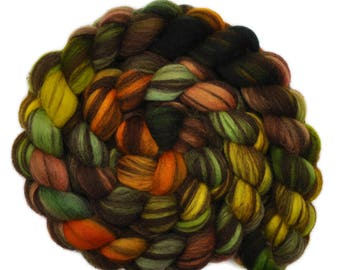 Hand painted roving - Corriedale Humbug wool spinning fiber - 4.0 ounces -  Ripening Pumpkins 1