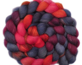 Hand painted combed top roving - Silk / Shetland wool 30/70% spinning fiber - 4.0 ounces - Emergency 1