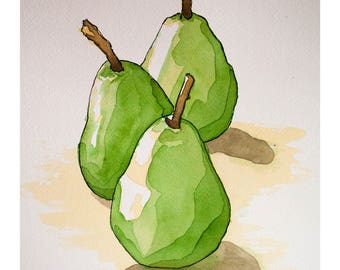 Signed Watercolor Print, Three Pears, 8.5x11 inches, Watercolor Painting, Food Sketch, Kitchen Decor, Wall Art, Food art