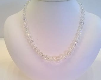 Vintage Aurora Borealis Clear Crystal Necklace -  19 Inch AB Necklace