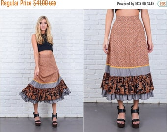 ON SALE Vintage 60s 70s Brown Mod Skirt Gray Color Block Tiered Floral High Waist Small 6673 vintage skirt brown skirt mod skirt tiered skir