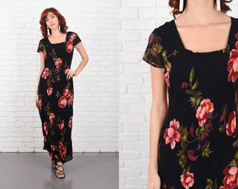 Vintage 90s Black Maxi Dress pink floral print Rose Small S 10267