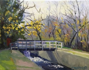 Canal Ways Small Landscape Oil Painting on Canvas