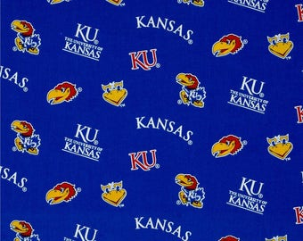 "END OF BOLT - 21.5"" X 44"" - University of Kansas Jayhawks Allover Print Fabric"