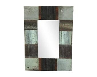 22 in. x 34 in. Patchwork Reclaimed Copper Framed 4.5 in. Mirror
