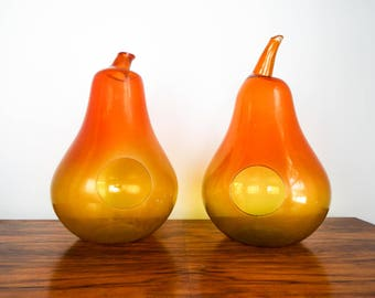 Vintage Retro Orange Art Glass Pear Fruit Light Lamp Cases Candle Holders 1960s