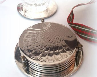 CIJ SALE 80s Silver Shell Coasters - Set of 6 in Holder - Coaster Set