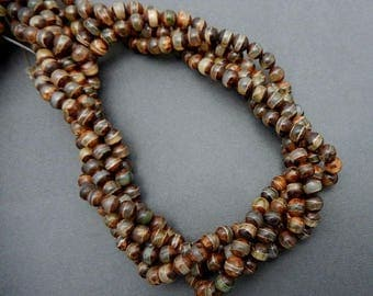 10% off Memorial Day Beautiful Brown Agate 6mm Tibetan Agate Round Beads - 1 STRAND  (S80B6-02)