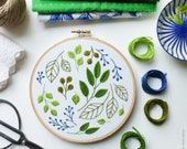 Embroidery hoop art, Embroidery kit, Botanical embroidery - Windy Leaves - Hand embroidery, Diy kit,Embroidery art, Broderie