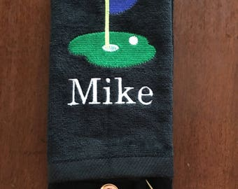 Golf towel with custom personalized embroidery, Golf towel, Personalized Golf towel, golf, golf gift, monogram towel, embroidered towel,