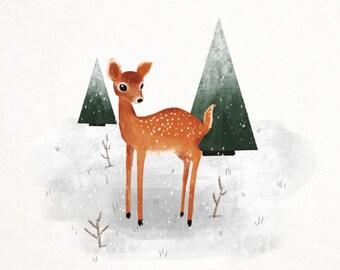 Deer in the Snow Digital Download
