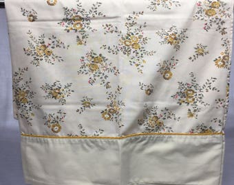 Vintage, Floral, retro, pillowcase with tiny red flowers, yellow and gold flowers, bedding, linens, pillowcase, flowers, tan pillowcase,
