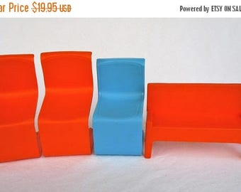 20% Summer SALE Vintage Mattel 1970s Barbie Furniture...3 Chairs With Rare Bench