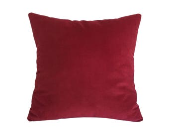 Red Velvet Suede Decorative Throw Pillow Cover / Pillow Case / Cushion Cover / 20x20""