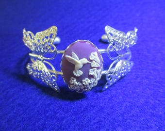 Hummingbird and Butterfly Bracelet, Purple, Cream and Silver, Trumpet Flowers, Handmade, New, Lovely