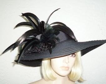 Womens Black Hat, Black - Wide Brim Black Hat - Kentucky Derby Hat, Garden Party Hat or Victorian Tea Party