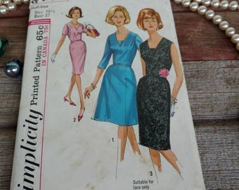 Vintage 1960's Simplicity Pencil + Wiggle Dress Pattern - Size 16.5 Sewing Pattern, Simplicity5705, Party Dress, Mid Century Formal Pattern
