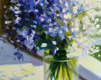 Art Print of PERS BLOMMETJIES, blue and purple, beautiful still life, gift for mom, gift for her, Christmas gift