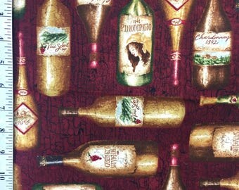 "Wine Bottle Fabric by the yard / ""The Tasting Room"" by Rebecca Carter licensed to Wilmington Prints / Wine Red Cotton Fabric"