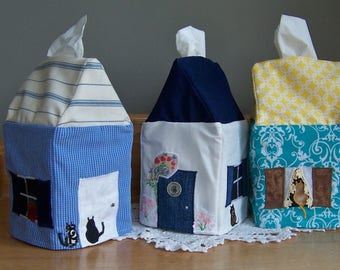Tissue Box Covers - Set of 3, RESERVED for Amy, Get Well Gift, Bathroom Decor, Kleenex Box Cover, Cottage Style House, Tissue Dispenser
