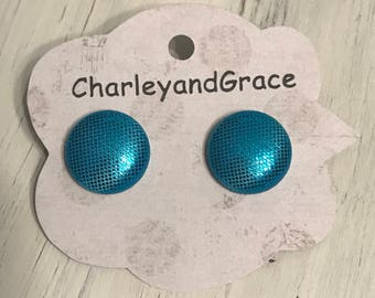 Blue shimmer button earrings stud back