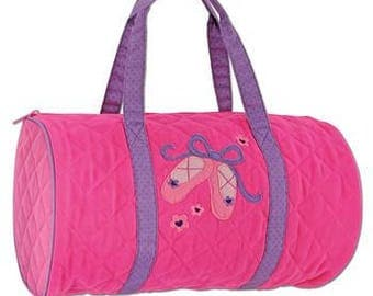 Personalized Ballet Quilted Duffle Bag by Stephen Joseph / Personalized Kids Sleep Over Bag / Personalized Kids Weekend Duffle Bag / Gift