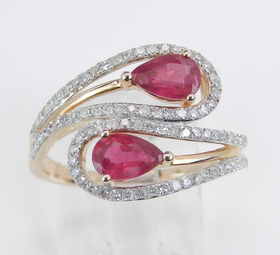 14K Rose Gold 1.35 ct Diamond and Ruby Cocktail Bypass Ring Size 7.25 July Gem
