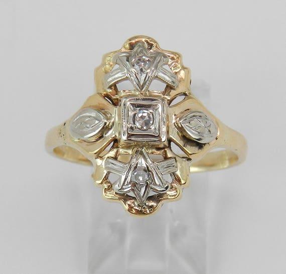 Antique Vintage Diamond Cocktail Ring 14K Yellow White Gold Size 10.25