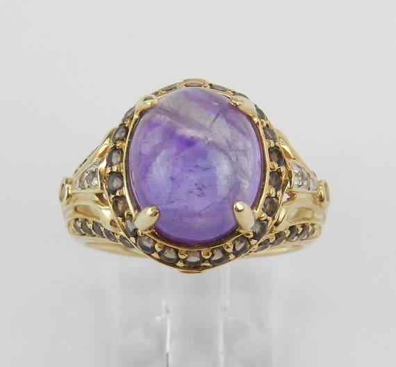 Vintage 14K Yellow Gold Amethyst Smokey Topaz and White Sapphire Ring Size 8