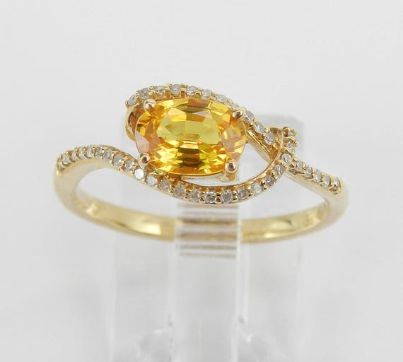 Diamond and Yellow Sapphire Engagement Ring Orange Promise Ring 14K Gold Size 7