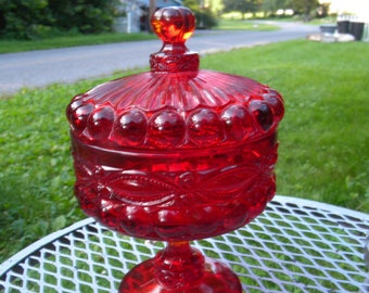 fantastic antique 1920s or so MOSSER glass EYE WINKER candy compote