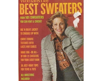 Vintage 70s Knitting Magazine Womans Day Best Sweaters Sweaters for Men Women Teens Children& Babies Also Dog Sweaters and Toys to Make