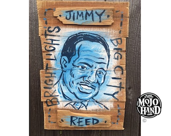 Jimmy Reed blues folk art painting on wood by Grego of mojohand.com - outsider art